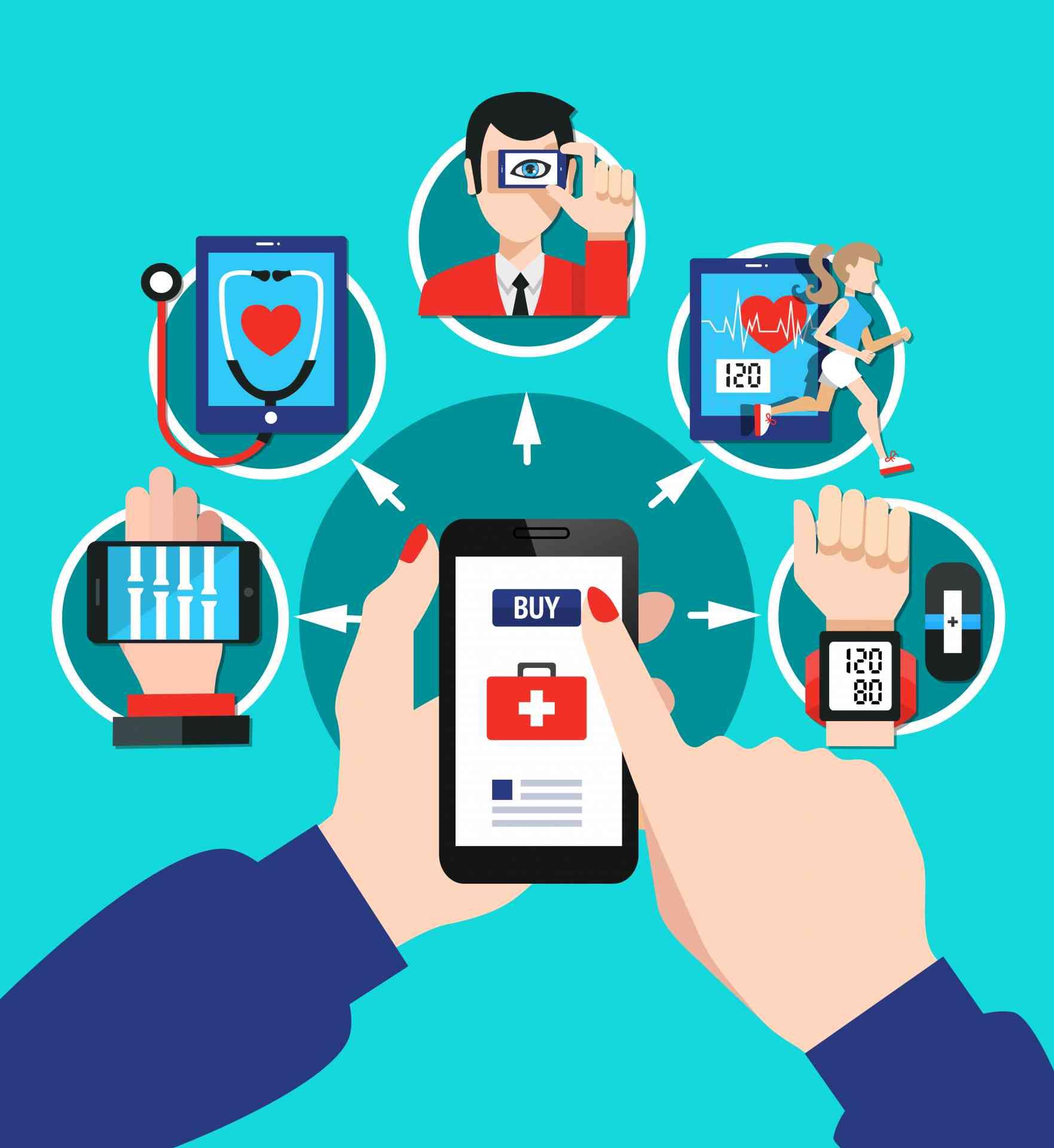 Digital healthcare gadgets tools software with index finger choosing smartphone screen menu options flat poster vector illustration