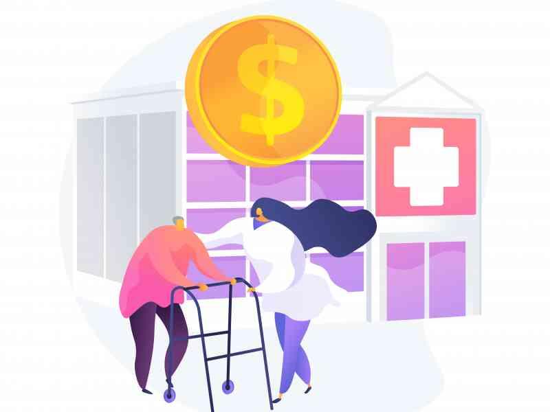 Pensioners healthcare expenses. Senile patients treatment, budget finance, health insurance program. Nurse assisting elderly man, retired client. Vector isolated concept metaphor illustration