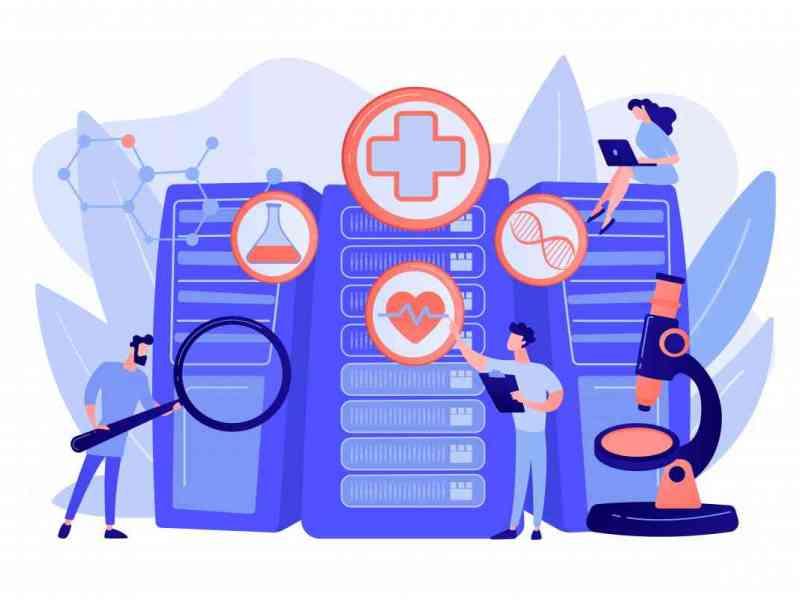 Doctors and personalized prescriptive analytics. Big data healthcare, personalized medicine, big data patient care, predictive analytics concept. Pinkish coral bluevector isolated illustration